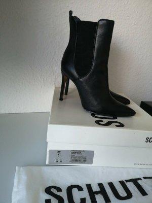Schutz Peep Toe Booties black leather