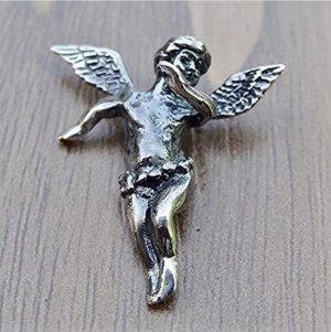 Schutzengel Anhänger Sterling Silber 925 Religiös Flügeln Amulett Charme Cherub