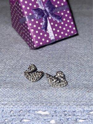 Ohrringe mit Swarovski Steinen Srebrne kolczyki srebrny-biały