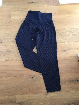 H&M Hoge taille broek donkerblauw-wit