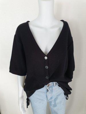 Schwarz 44 46 Cardigan Strickjacke Oversize Pullover Hoodie Pulli Sweater Top True Vintage