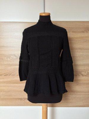 Schwarz Baumwolle Stickerei Bluse von Zara, Gr. S (NEUw.)
