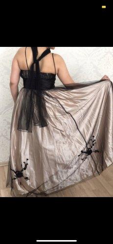 Schwarz Beige Abendkleid