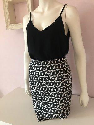 H&M Asymetryczna spódniczka czarny-w kolorze białej wełny