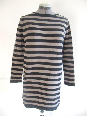 schwarz beige gestreifter langer Baumwoll-Pullover von Mango