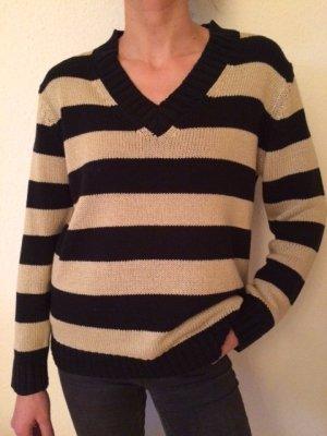 Schwarz - beige gestreifter Pullover in Grobleinen Optik