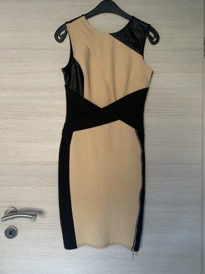 Schwarz Beiges Kleid