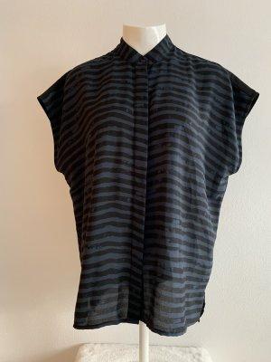 Schwarz-blau gestreifte ärmellose Bluse von s.Oliver Denim Gr. L