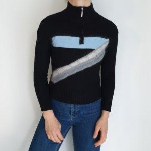 Schwarz blau M Cardigan Strickjacke Oversize Pullover Hoodie Pulli Sweater Top True Vintage