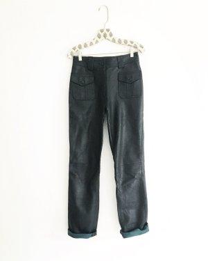 schwarz • blaue • lederhose • high waist • vintage • bohostyle • hochwertig • echtleder