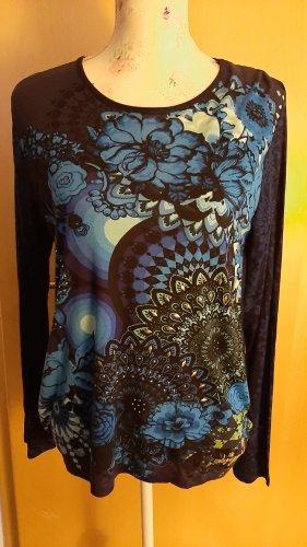 Schwarz-blaues Shirt mit ausgefallenem Rücken Desigual