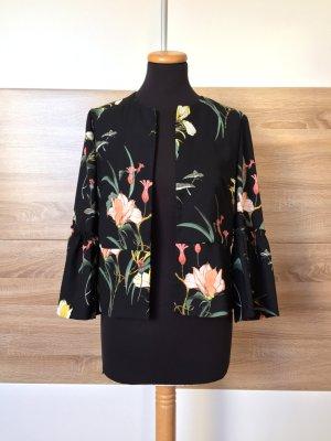 Schwarz Blumen Blouson, Blazer Bluse von Zara, Gr. M (NEUw.)