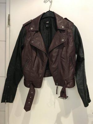 H&M Giacca in ecopelle nero-bordeaux