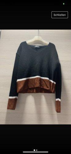 Schwarz Brauner dünner Pullover