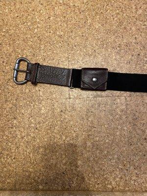 Comma Cinturón de lona negro-marrón