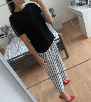 Zara Glanzende blouse zwart-zilver