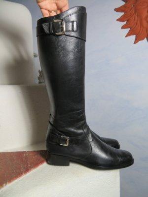 Schwarz Esprit Lederstiefel - Gr. 37! - Kniehohe Stiefel mit Riemen und Schnallen