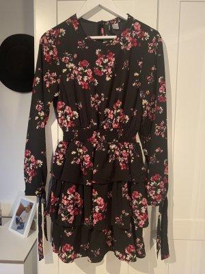 Schwarz geblümtes Mini-Kleid von H&M in Größe 36
