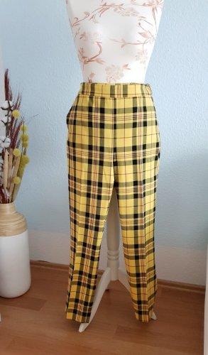 schwarz-gelb karierte , highwaist Stoffhose von Zara