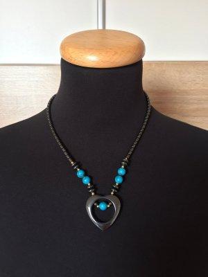Schwarz gold blau Perlen Kette mit Herz Anhänger (NEU)
