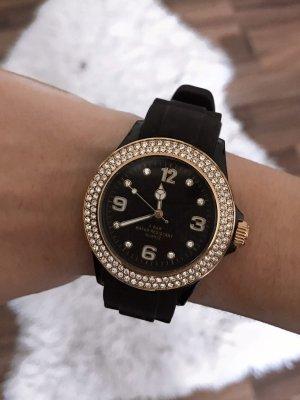 Schwarz/goldene Uhr