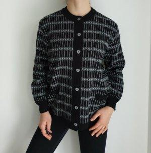 Schwarz grau Cardigan Strickjacke Oversize Pullover Hoodie Pulli Sweater Top True Vintage