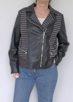 Gerry Weber Veste motard noir-gris tissu mixte