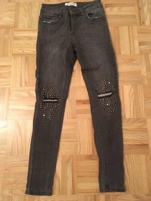 Schwarz/graue Jean, S