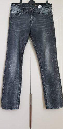 Schwarz- graue Jeans im used-look