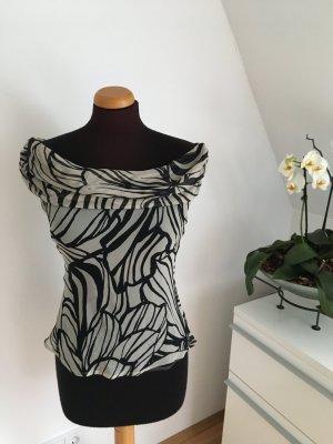 Zara Camisa tipo Carmen negro-gris claro