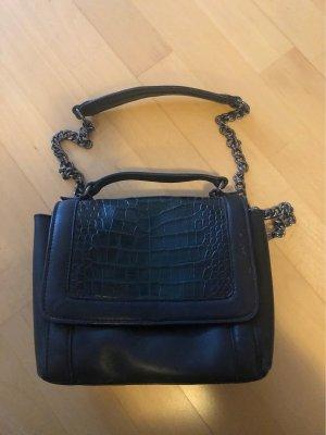 Schwarz/grüne Lederhandtasche