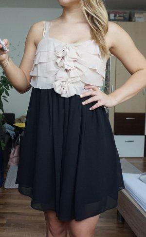 schwarz/hellrosa Abendkleid