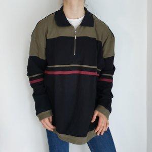 schwarz kaki Cardigan Strickjacke Oversize Pullover Hoodie Pulli Sweater Top True Vintage