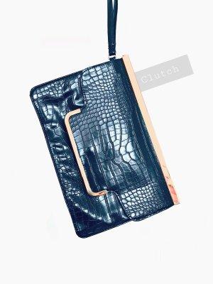 Schwarz Leder Imitat Schlangen Kroko Optik mit Roségold Details clutch | primark | onesize