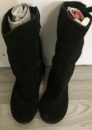 Schwarz Leder Stiefel