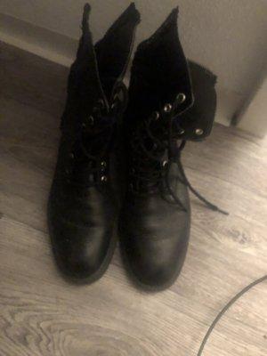 Schwarz Leder Stiefeletten