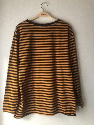H&M Camisa de cuello barco negro-naranja