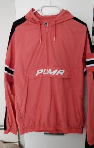 Schwarz orangene Jacke, Windbreaker von Puma, Gr. L (40/42)