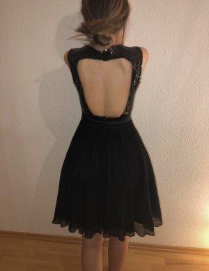 Schwarz Pailetten Cocktail Kleid