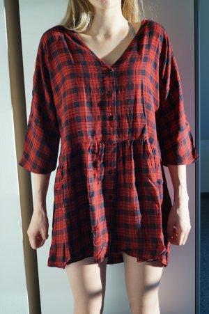 Bershka Sukienka typu babydoll czerwony-czarny Bawełna