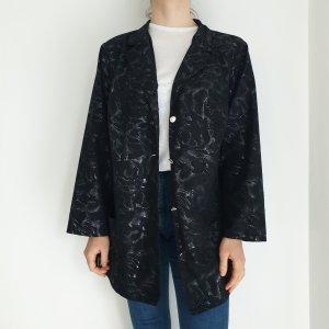 Schwarz Silber 48 50 true Vintage Mantel Trenchcoat leichte Jacke Oversize