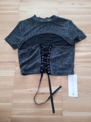 schwarz silber cut-out Crop Lace Up T-Shirt M