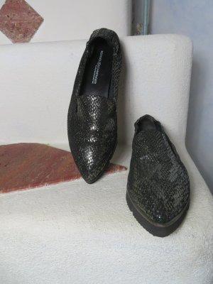 Kennel & Schmenger Ballerine en pointe noir-argenté cuir