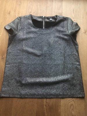 Schwarz silbern glänzendes Shirt Größe 38