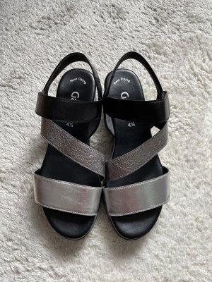 Schwarz-silberne Sandalen von Gabor Gr. 37,5