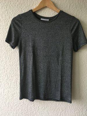 Schwarz-silbernes Glitzer-Shirt