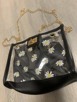 Schwarz/Transparente Tasche mit Blumen