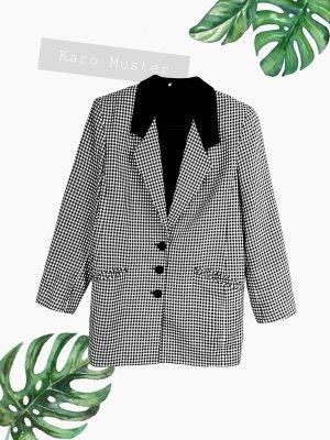 Schwarz weiß Blazer Karo Muster woll Kragen punk oversized lässig Jacke jacket | Vintage | 42