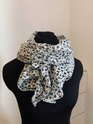 Schwarz-weiß geblümter Schal