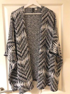H&M Divided Poncho en tricot noir-blanc polyester